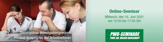 Online-Seminar: Dienstpläne – Arbeitgebergrenzen und Ansprüche der Arbeitnehmer